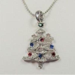 Jewelry - SILVER TONE HOLIDAY CHRISTMAS TREE CZ NECKLACE